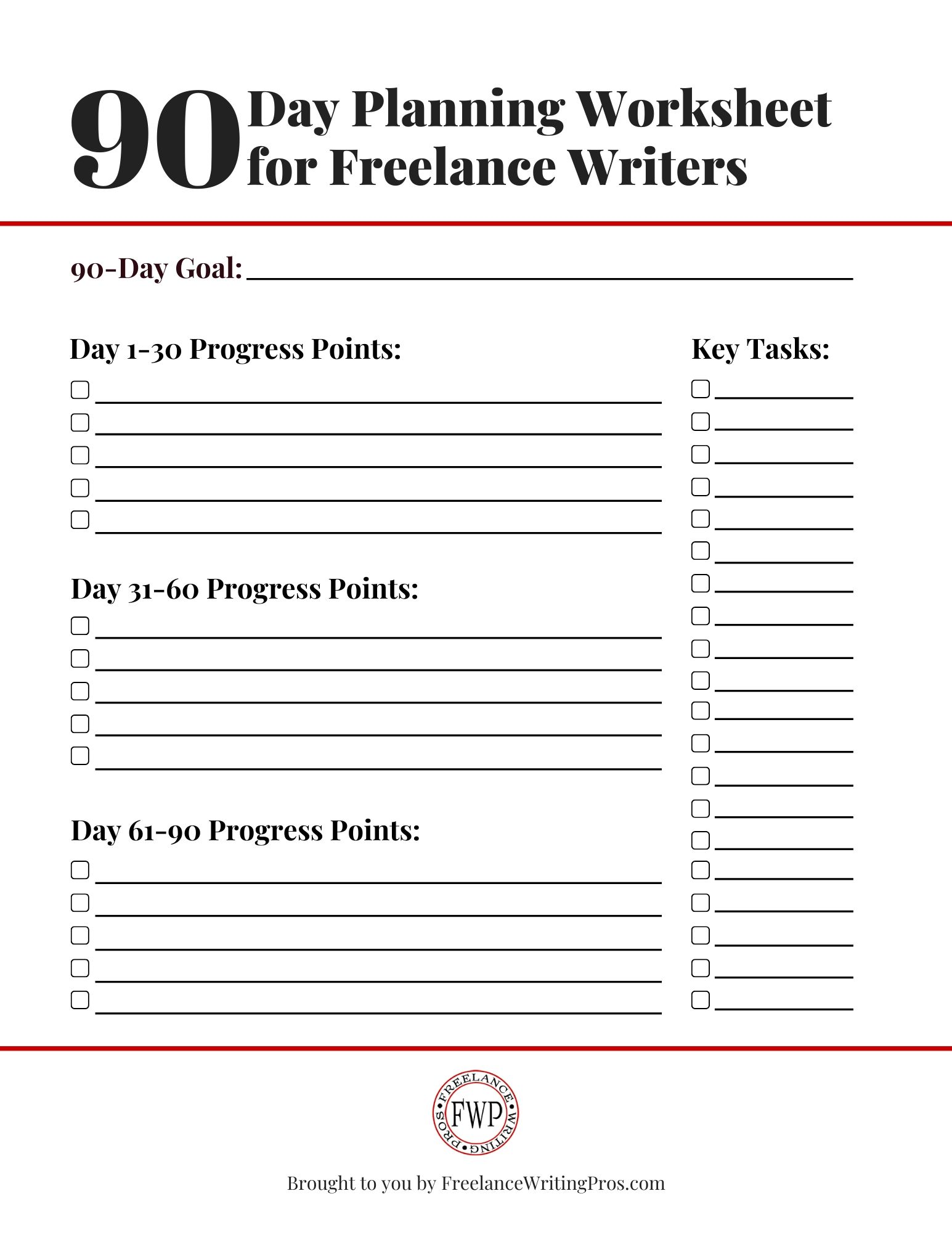 90-Day Planning Worksheet - FreelanceWritingPros.com